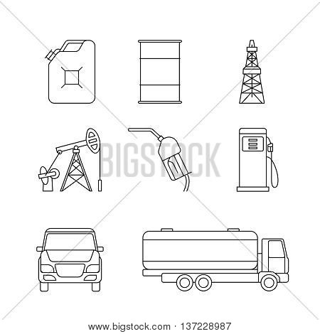 Linear oil icons. Diesel and petrol thin line signs. Vector illustration