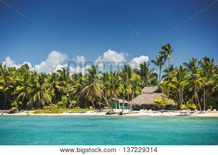 Carribean sea and the Saona island, beautiful panoramic view