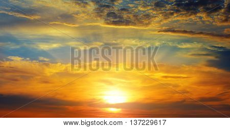 beautiful sun rise and red  cloudy sky