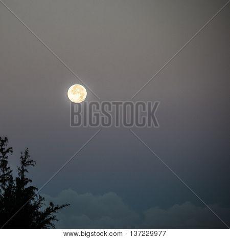 Beautiful Dawn Full Moon from Maui, Hawaii