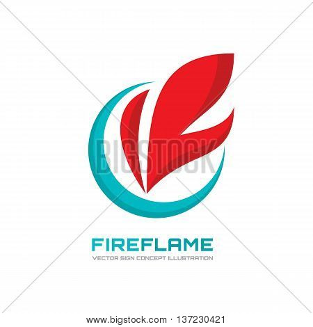 Fire flame - vector logo concept illustration in flat style design. Abstract flame shape icon sign. Design element.