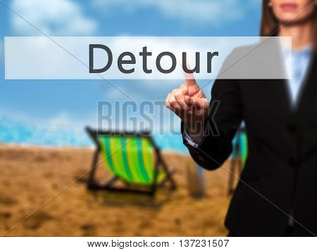 Detour - Business Woman Point Finger On Push Touch Screen And Pressing Digital Virtual Button.