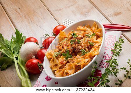 pasta with fish ragout and fresh oregano