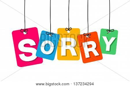 Vector colorful hanging cardboard. Tags - sorry on white background