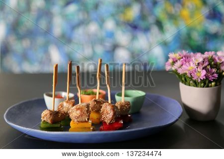 Skewers of beef that serving in the restaurant