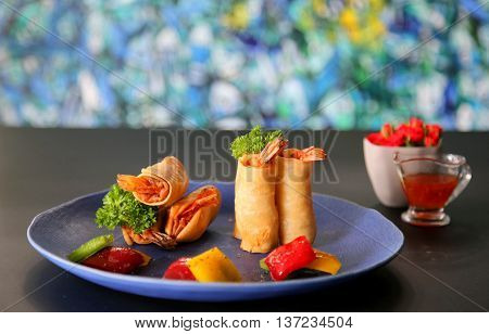 Vietnamese spring rolls that serving in the restaurant