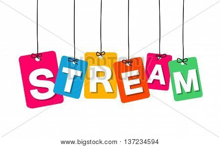 Vector colorful hanging cardboard. Tags - stream on white background