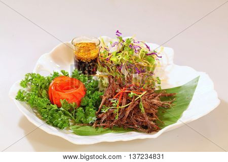 Vietnamese sliced dried smoked beef that serving in the restaurant