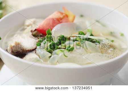 Bun sua or Vietnamese soup of jellyfish and vermicelli