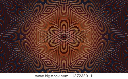 Seamless abstract arabesque openwork pattern and geometric shapes in bronze on a dark background