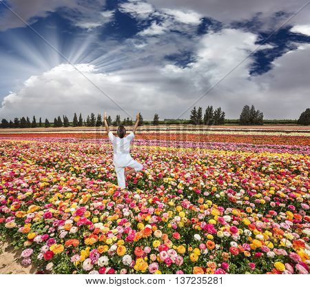 Flower kibbutz near Gaza Strip. Spring flowering buttercups. Delighted woman in white greets the rising sun