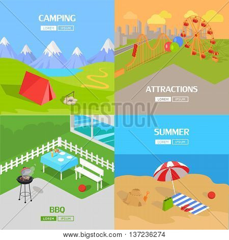 Holiday barbecue and amusement park spend vacation. Relax on beach, mountain tourism, prepare barbecue in yard and walk in park attractions. Vector illustration