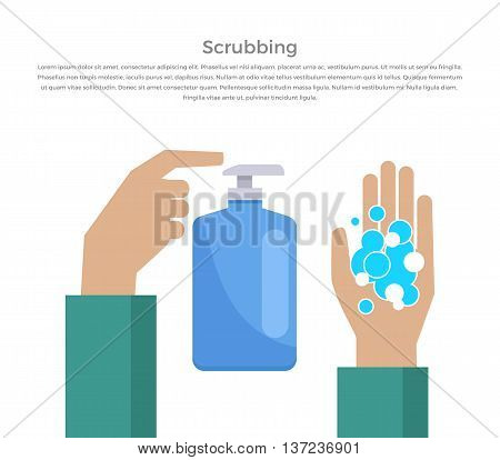 Scrubbing hand with soap design banner. Web page banner poster and hand washing instructions. Hygiene clean soap and care, hand washing water scrubbing and sanitary flat style. Vector illustration