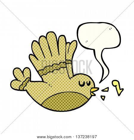 freehand drawn comic book speech bubble cartoon singing bird