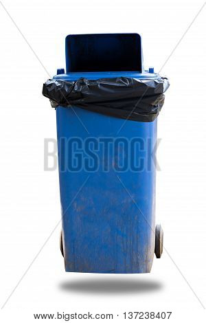 Old Large Blue Wheel Bin Isolated On White