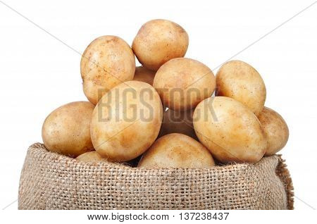 fresh potatoes in the bag isolated on white