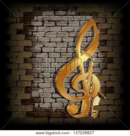 Vector illustration golden treble clef on a background of a brick wall and saxophone. Can be used with any image or text on a black background.