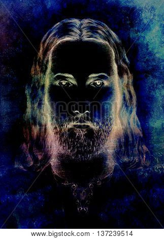 radiant Jesus Christ silhouette on dark background, eye contact
