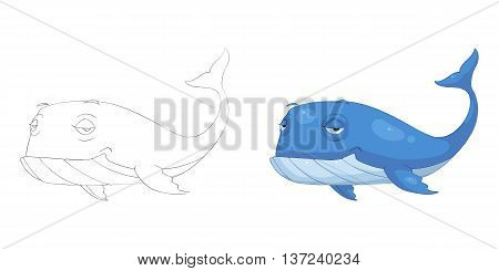 Blue Whale. Coloring Book, Outline Sketch, Animal Mascot, Game Character Design isolated on White Background