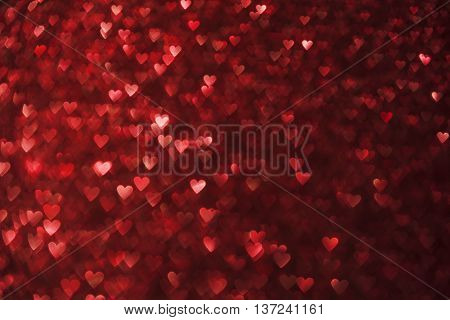Hearts Lights Background Heart Shape De Focused Red Sparkles