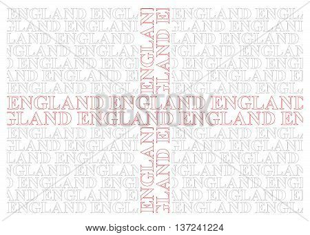 England flag constructed from UK text isolated on white background