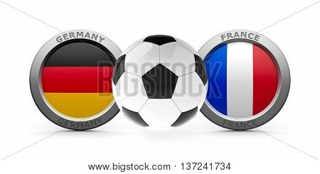 Emblems - Flags of Germany and France with football - isolated on white represents semifinal of soccer game three-dimensional rendering 3D illustration