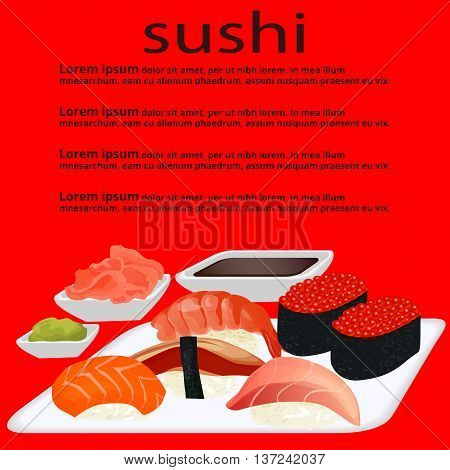 background Sushi on the white plate wasabi ginger text on a red background