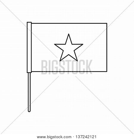 Vietnam flag icon in outline style isolated vector illustration. State symbol