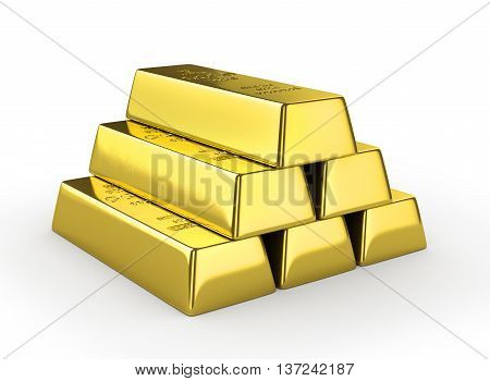 Set of gold bars isolated on white background. 3d illustration