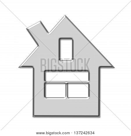 Silver symbol of a private house on a white background