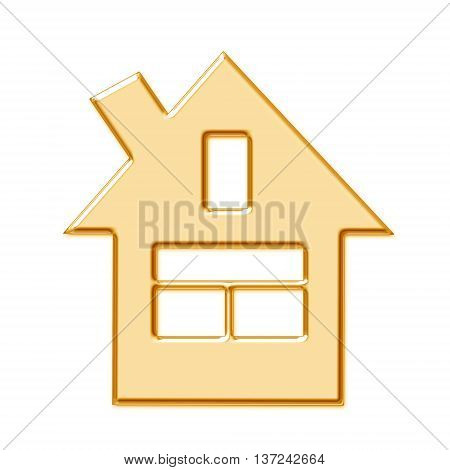 Golden symbol of a private house on a white background