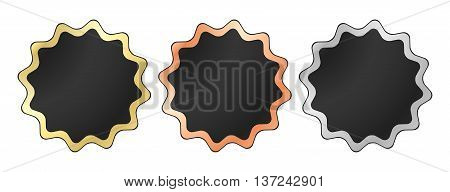 Vector labels in the form of a star in black with gold silver and bronze stroke