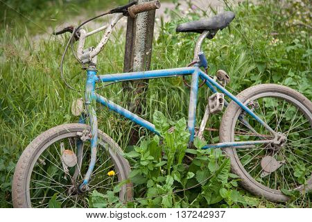 abandoned old childrens bike iin the forest