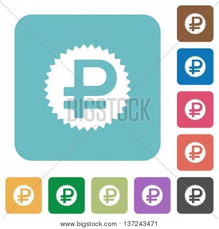 Flat ruble sticker icon set on round color background.