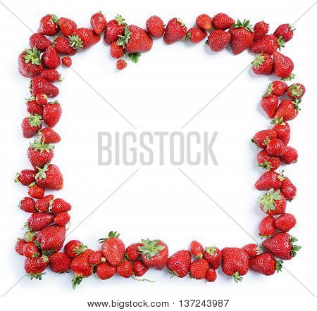 Fram from strawberry isolated on white background. Copy space. Top view High resolution product.