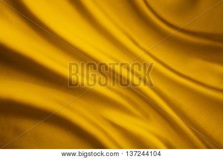 Silk Fabric Wave Background Yellow Satin Cloth Texture