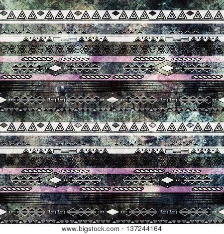 Ethnic boho african grunge pattern. Tribal old art print. Dark print background.