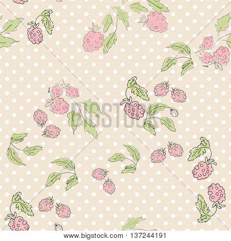 Cute cartoon seamless print pattern pink raspberries in retro pastel colors