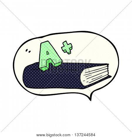 freehand drawn comic book speech bubble cartoon A grade symbol and book