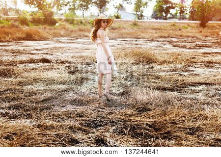 Field Solitude Teanquil Woman Journey Explore Concept