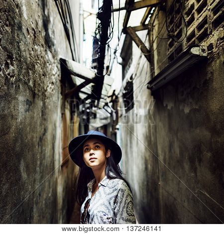 Woman street Walking Alley Vacation Concept