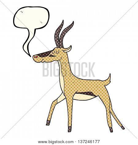 freehand drawn comic book speech bubble cartoon gazelle