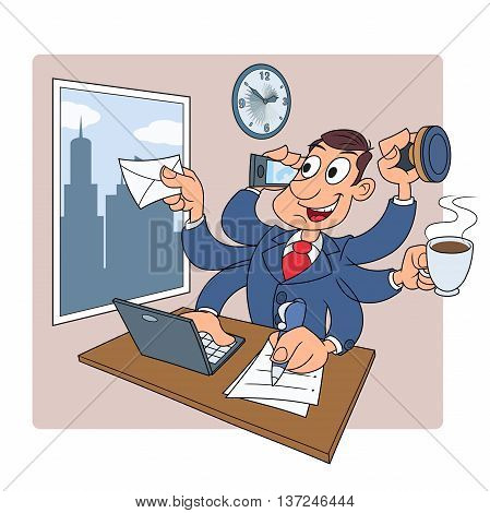 Illustration of the busy businessman in the office successfully doing several things at once