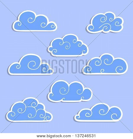 Set of stickers of clouds. Cumulus clouds on a blue background. Vector logo template.