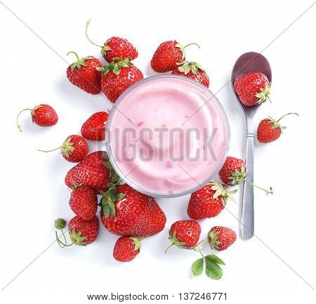 Healthy food of yogurt. Strawberry Yogurt with berries. Top view High resolution product.