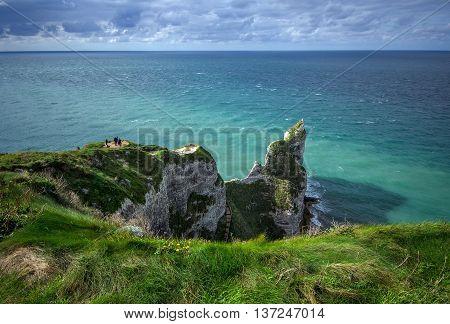 Alabaster cliffs of Normandy coast near Etretat