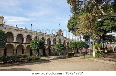 ANTIGUA GUATEMALA GUATEMALA - OCTOBER 02 2015: Residence of the Captain General of General Captaincy of Guatemala in Antigua during the Spanish colony. Built in the period 1763-1764 gg. Architect: L. Diez Navarro
