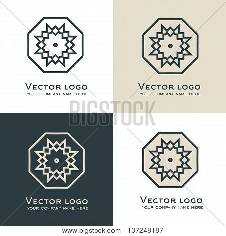 Set of vector abstract geometric logo. Celtic arabic or aztec style. Sacred geometry icon.