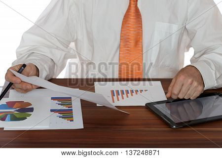 modern working place with documents and tablet pc
