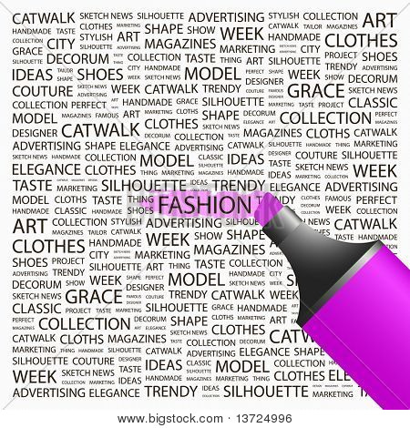 FASHION. Highlighter over background with different association terms. Vector illustration.